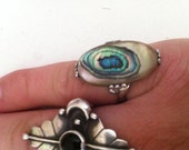 Vintage Sterling Silver Abalone Shell Ring SIZE 5.75 Boho Glam Unique FREE SHIPPING