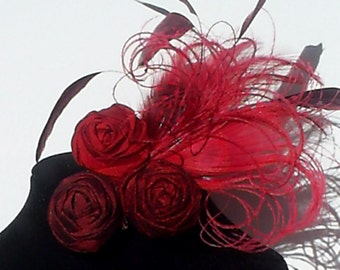 Red Peacock Feather and Silk Rosette Hair Clip red Rose floral fascinator