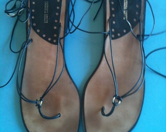 Black Gladiator/Lace Up Flats - Cuoio - Sz: 7/38 - Caterina Lucchi