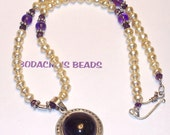 """Elegant Handmade 18""""  PENDANT NECKLACE and EARRING Set  Amethyst Pendant  Ivory Potato Pearls with Silver Accents"""