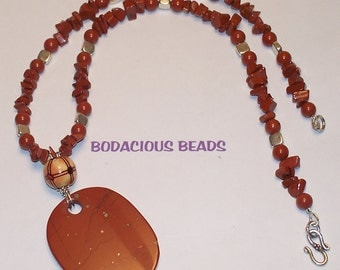 """Handmade 20""""  PENDANT NECKLACE and EARRING Set  Red Jasper Pendant and Chips with Silver Accents and Closure"""