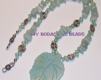 "Handmade 19"" AMAZONITE Leaf PENDANT NECKLACE Earring Set with Silver and Pewter Accents Accents and Closure"