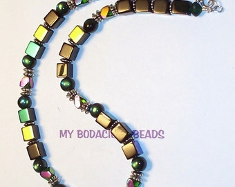 "Handmade  17"" NECKLACE Black Green Pink Blue AB IRIDESCENT Assorted Shaped Beads Silver Accents and Hook Closure"