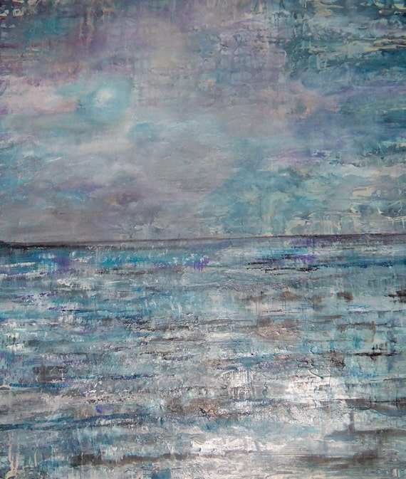 Original  Seascape Fine Art Acrylic Painting by Sheri  Under a Turquoise Moon 20x24
