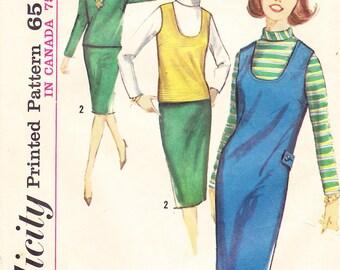 1964 Mod or Beatnik Jumper, Top, Skirt and Blouse Vintage Pattern, Simplicity 5621, Slim, Wiggle, Pencil Skirt, U Neck Vest or Jumper
