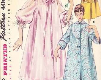 1954 Duster, Negligee, Housecoat, or Robe Vintage Pattern, Simplicity 4872,  Feminine or Practical, Ruffles or Tailored
