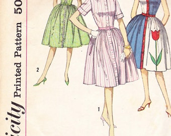 1960s Full Skirted Mad Men Shirtwaist Dress Vintage Pattern, Simplicity 4326, Contrast Bands, Cuffed Sleeves or Sleeveless, Tulip Applique