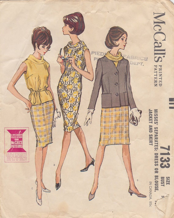 1963 Vintage Sewing Pattern Separates Wardrobe Slim Sleeveless Dress Skirt  Blouse with Bias Collar, Collarless Jacket with Patch Pockets