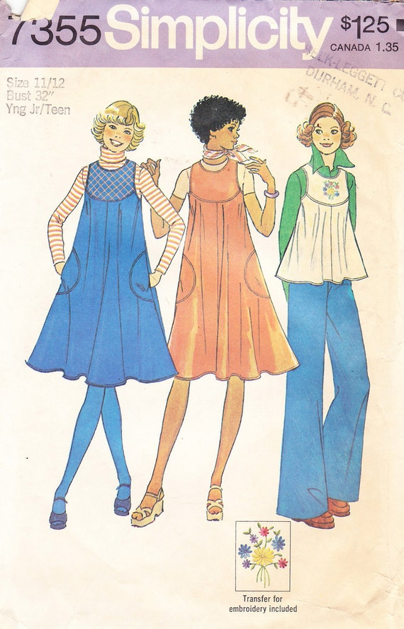 1976 Jumper or Top Vintage Pattern, Simplicity 7355, Swingy, Sleeveless Tent Dress or Flippy Top, Curved Yoke, Embroidery Trim