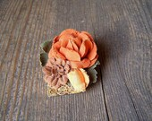 Retro Rose Fabric Brooch, Shabby chic Romantic Orange Yellow flower and leaves Autumn Pin Brooch, 80s Pendant Brooch Garden inspired jewelry