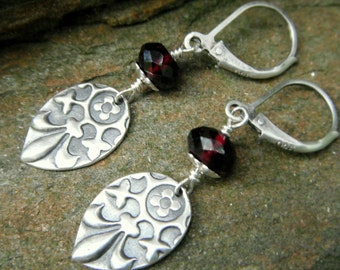 Medieval Fleur De Lis and Garnet Earrings- Handcrafted with Recycled Fine Silver