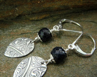 Medieval Sapphire Earrings-Handcrafted with Recycled Fine Silver