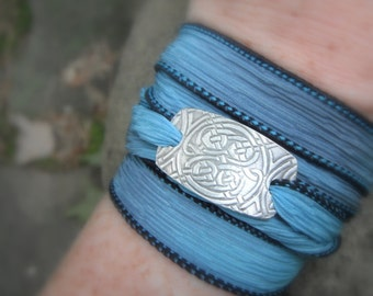 Celtic Knot Bracelet - Silver & Silk Wrap Bracelet- Artisan Handcrafted with Recycled Fine Silver
