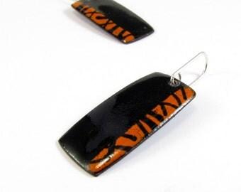 Enamelled Earrings, Black, Orange, Modern, Contemporary, enamel, Copper, Sterling