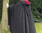 Legendary Black Pointed Hood Fleece Cloak / Cape - Unisex  Small, Medium, Large, XL or XXL with red, plum, green or black inner hood
