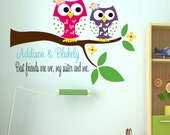 Owl decal , Sisters Wall Decal with Owl - Name Wall Decal - Childrens Decor Owl Vinyl Wall Decal