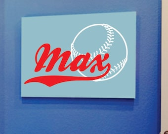 Custom Boys Name With Baseball Decal // Name Wall Decal // Boys Bedroom Decal // Sports Vinyl Wall Art // Baseball Decor // Personalized