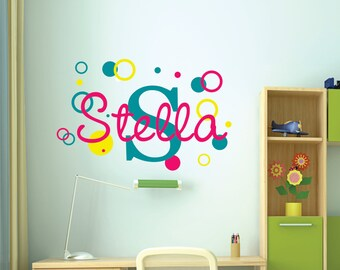 Name Wall Decal  - Name Wall Decal - Childrens Wall Decals - Girls Name Vinyl Wall Lettering - Baby Nursery