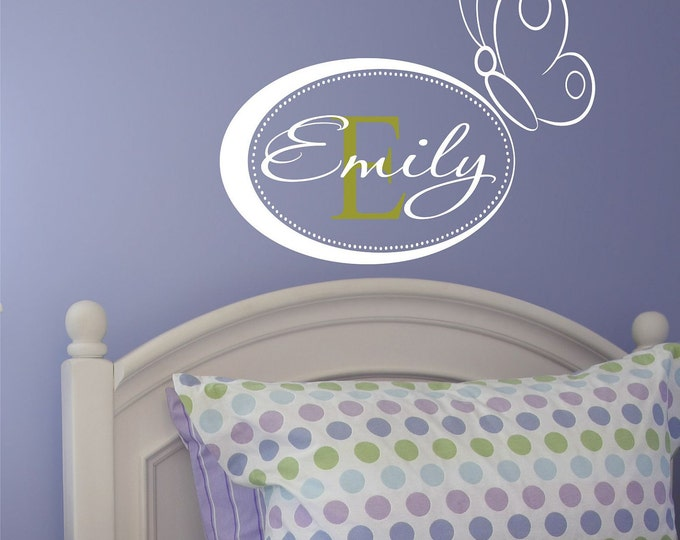 Custom Girls Name With Butterfly Decal // Monogram Decal // Butterfly Decal // Nursery Decal // Butterfly Art // Girls Bedroom Decor