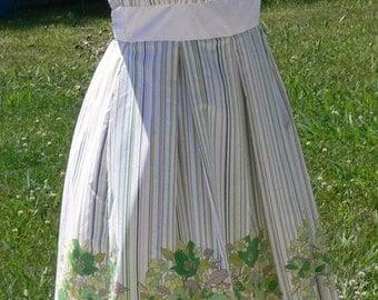 white STRAPLESS cotton   boned summer dress  size 7-8 SALE 50% OFF