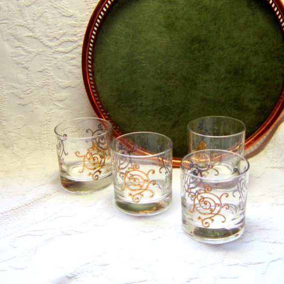 Vintage Cocktail Glasses Midcentury Barware 6 Matching Gold Drinking Glasses Gold Cocktail Tumblers 6 Vintage Bar Rock Glasses
