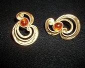 Avon Pierced Earrings Sculpted Art Swirls with Fabulous Opalescence Glass Stones -Signed Avon
