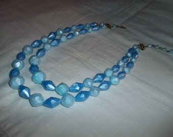 Two Strand Choker With Baby Blue Swarovski  Beads Signed W. Germany