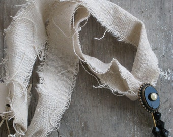 Prairie Style Ribbon Necklace Vintage Upcycled Jewelry Altered Art Necklace  (00171-LV)