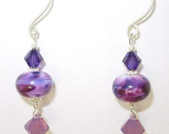 Artisan Lampwork, Swarovski and Sterling Silver Earrings, Purple, Violet