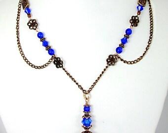 Cobalt Blue & Copper Necklace and Earring Set, Vintage Style,  Antiqued