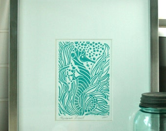 Linocut print of Seahorse in aqua ink