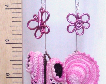 OOAK Earrings Pink Crocheted baby shoes hat Wired flower butterfly by Orchid's Orchard
