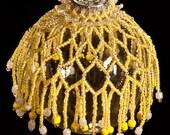 "Sunburst beaded Christmas ornament drape PATTERN 2.5"" bulb"