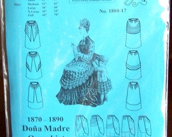 Victorian Skirt Pattern: Multi Size Historical Sewing Pattern for 1870 - 1890 by MantuaMakerPatterns. 1880-17