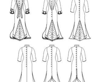 Victorian Polonaise Dress Pattern: Historical Multi Size Sewing Pattern for 1875 - 1888. 1880-14