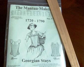 Corset Pattern & Hardwood Busk: Georgian Stays Multi Size Sewing Pattern, 1700-1b
