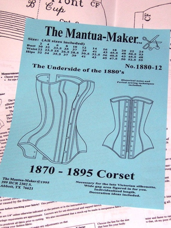 Victorian Corset Sewing Pattern, Multi Size Bust 30 to 53, #1880-12