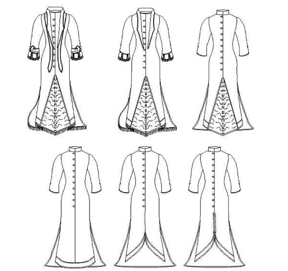 Victorian Polonaise Dress Pattern: Historical Multi Size Sewing Pattern for 1875 - 1888, 1880-14