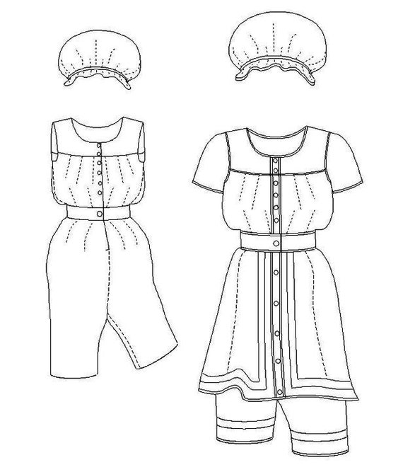 Victorian Bathing Suit Pattern: Multi Size Historical Sewing Pattern for Ladies. 1880-6