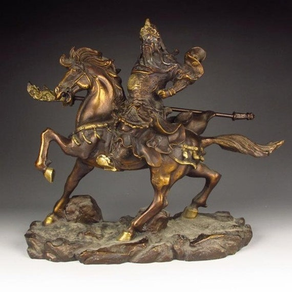 RESERVED. Chinese Bronze Statue. General Guangong on Horse.