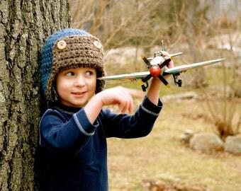 Kids Hat, Crochet Aviator Hat, Bomber Hat, Earflap Hat, Photo Prop, Fall Fashion