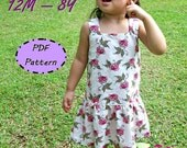 Macy Dress For Girl 12M-8Y - Easy Sew - PDF pattern & instructions -Square neckline - Drop waist - Snap fasteners/ Zipper Option
