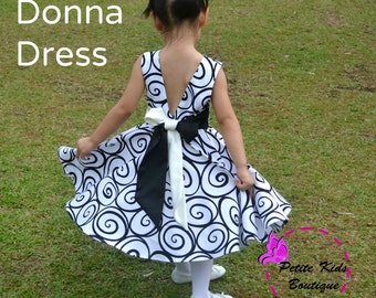 Donna Dress for Girls 12M-12Y  PDF Pattern & Instruction-crisscross front-low back-circle skirt-big bow