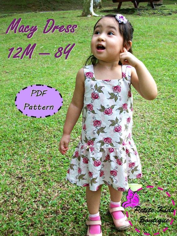 Macy Dress For Girl 12M-8Y - Easy Sew - PDF pattern & instructions -Square neckline - Drop waist - Snap fasteners/ Zipper Option