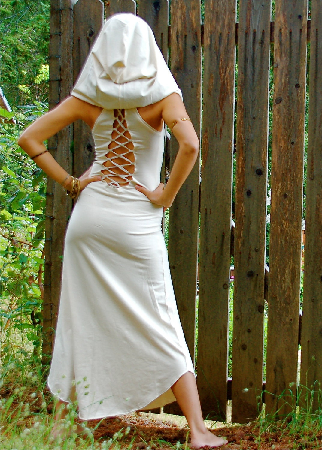 Nienna Hood Dress With Open Back Burning Man Elven by