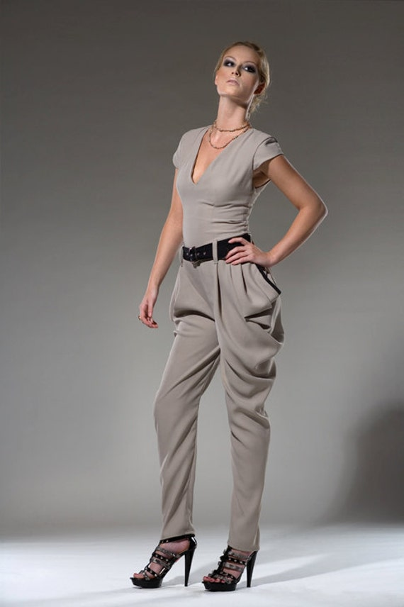 Women's Jumpsuit Tan Khaki V-neck Jumper Draped Pants with Pockets Made to order