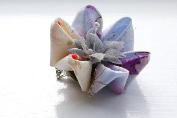 Kanzashi Flower Hair Clip: Hair Flower in Mauve and Orange Sorbet Japanese Fabric