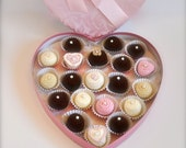 Valentine heart-shaped box of handmade crocheted chocolates