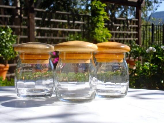 vintage glass storage jars with wooden lids set of by athenastudio. Black Bedroom Furniture Sets. Home Design Ideas