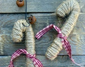 Jute wrapped Candy Cane Christmas Ornaments Natural Primitvie Rustic Decor